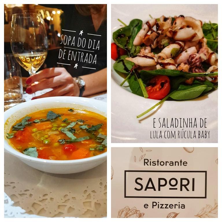 Sopa e saladinha de entrada no Ristorante Sapori em Interlaken