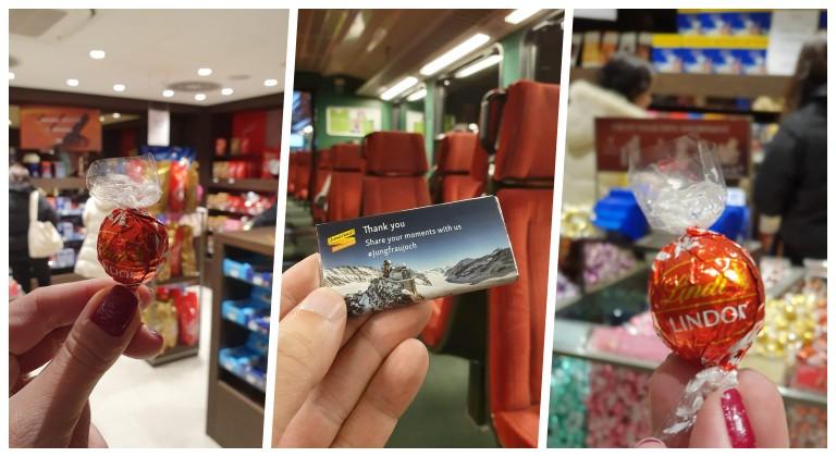 Chocolate cortesia na loja da Lindt e até no trem da Jungfrau