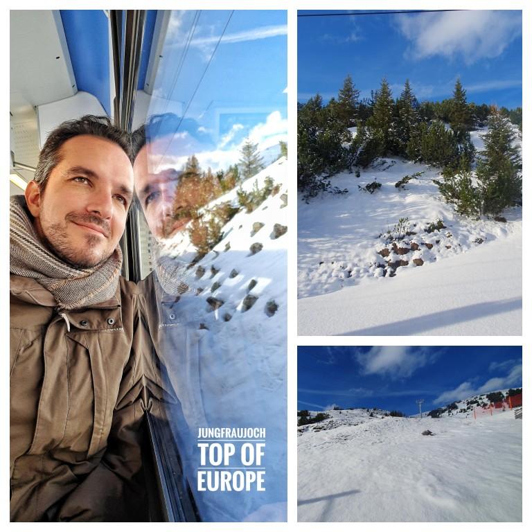 Neve por todos os lados na descida da Jungfraujoch