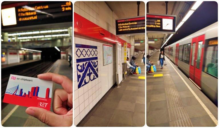 estação metrô em Roterdã