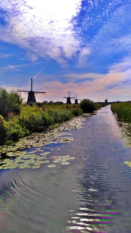 Kinderdijk: canais e muitos moinhos