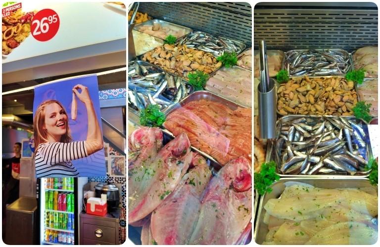 Markthal: banca que vende peixe e sanduíches preparados na hora