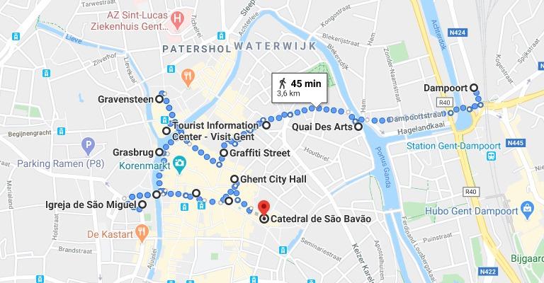 O que fazer em Gent: mapa com o roteiro de 1 dia