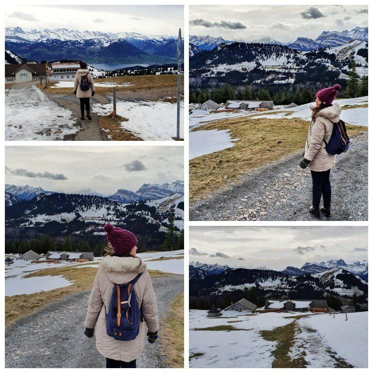 Caminhando pela montanha até o Chäserenholz (típica fazenda de produção de queijo alpino)