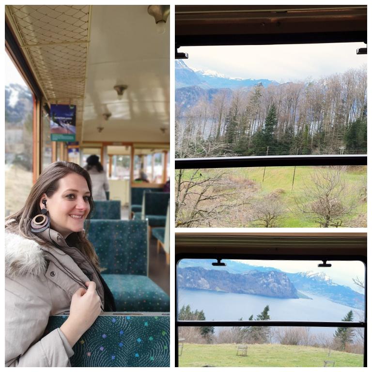 No trem de cremalheira de Vitznau até a estação Rigi Kulm