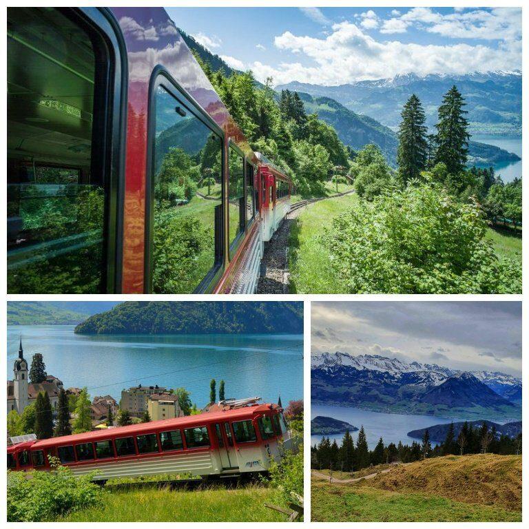 Subida do trem com vista para o lago Lucerna e os alpes suíços