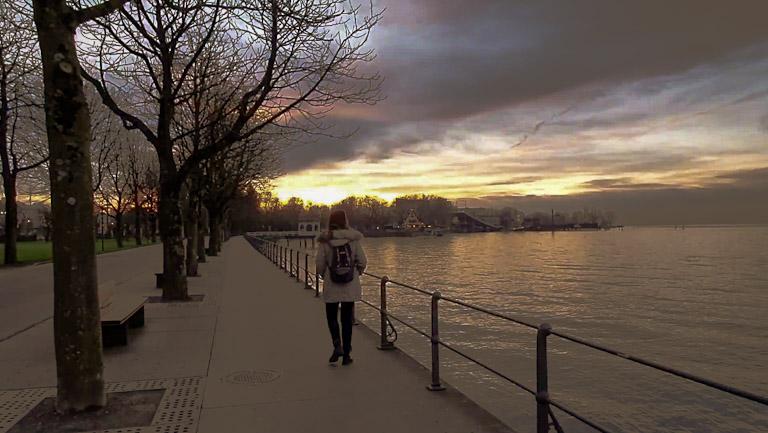 Chai de costas caminhando pela margem do lago ao pôr do sol na beira do Lago Constança - Bodensee
