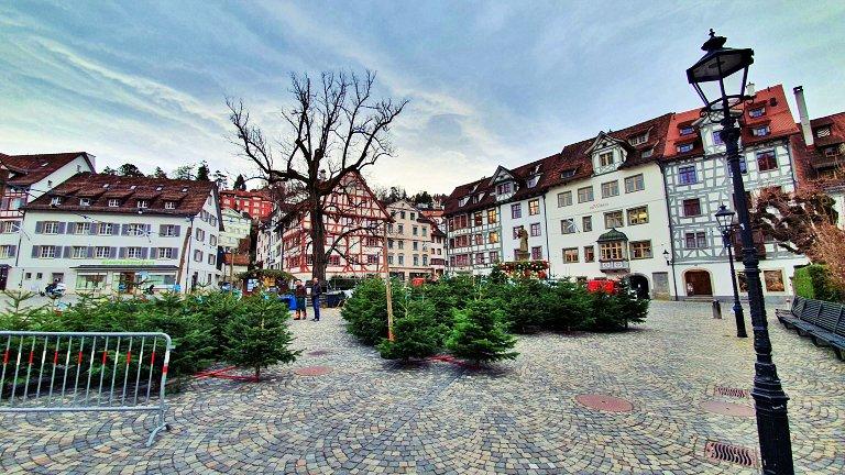 Gallusplatz durante o período do Mercado de Natal