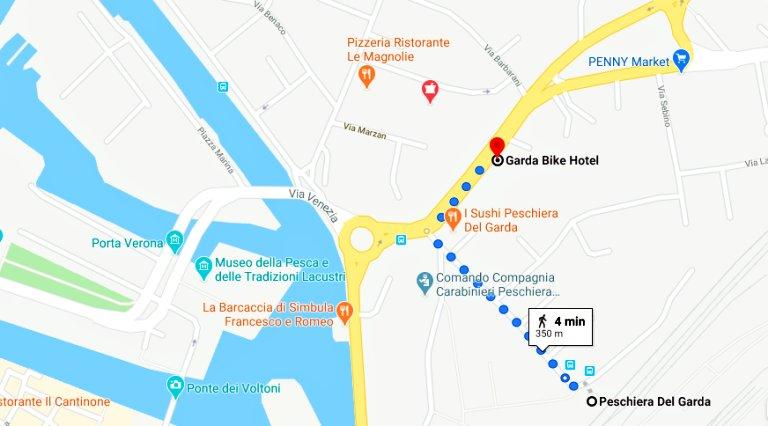 Trajeto a pé da Estação de Trem de Peschiera Del Garda até o Garda Bike Hotel