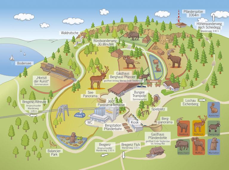 Mapa ilustrado do parque Pfander