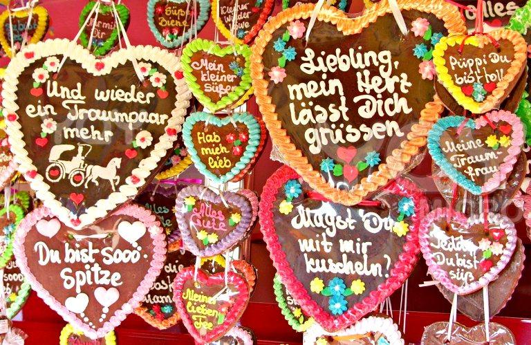 Lebkuchen em formato de coração nos Mercados de Natal da Alemanha