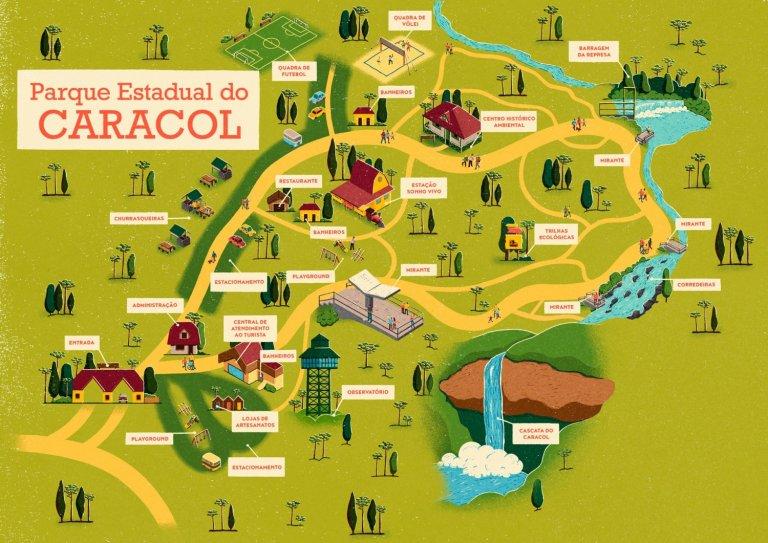 Mapa ilustrado do parque do caracol