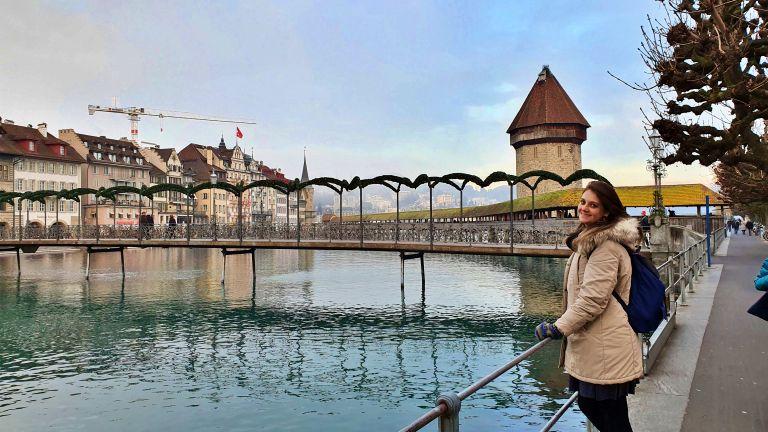 Pontes de Lucerna: Rathaussteg e Ponte da Capela ao fundo